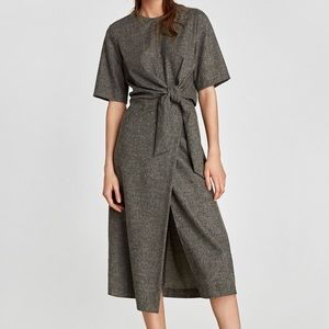 Zara Wool Knotted Dress NWT Gray faux wrap